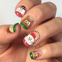 The Peeps of Christmas Mani: Elf, Snowman, Reindeer, Santa & Gingerbread Man