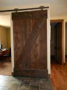 Sliding Barn door for the office, antique rollers and guide