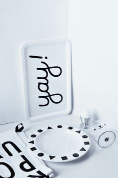 buddy and bear monochrome tableware |