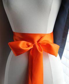 Orange Ribbon Bridal Sash Wedding Sash Bridesmaid by TulleCabaret, $15.00