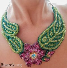 Pretty Embroidered Flower necklace