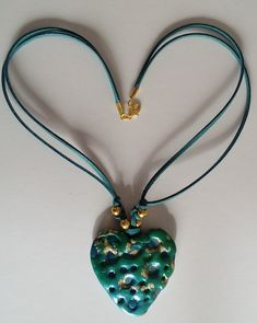 "Halskette ""corazon  turquesa"" Halsschmuck Pendant Necklace, Euro, September, Jewelry, Hearts, Board, Music, Handmade, Musica"