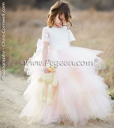 Custom Silk Flower Girl Dresses by Pegeen.com in pink layers of tulle. Pegeen Couture Style 921  available in 200 colors ~ Located 1 mile from Disney World, Selling online and shipping world wide. Call us for design help!