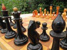 Soviet vintage wooden chess set. Vintage chess. Chess set USSR. Wooden chess board. Vintage russian chess set. Soviet vintage 1950s
