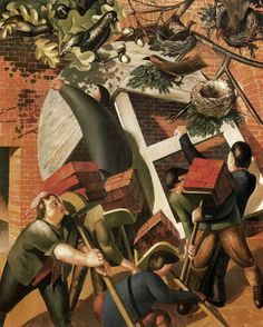 Stanley Spencer, (English painter, 1891 – The Builders It's About Time: Englishmen Working by Stanley Spencer Stanley Spencer, Dame Mary, Social Realism, English Artists, British Artists, Abstract Drawings, Abstract Paintings, Art Database, Romanticism