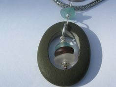 Cape Cod Beach Stone Pendant by SignsCapeCodDesigns on Etsy, $35.00