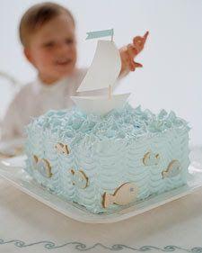 Martha's take on a sailboat cake- nautical party- ahoy! Boys 1st Birthday Party Ideas, Baby Birthday Cakes, Baby Boy Cakes, Cakes For Boys, Boy Birthday, Anchor Birthday, Baby Boy Cake Topper, Kid Cakes, Sailboat Cake