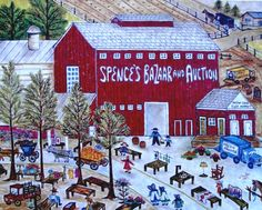 "Folk Art  ""The Sale"" featuring Spence's Bazaar in Dover Delaware Limited Edition Print by ntaylorcollins on Etsy, $50.00"
