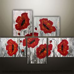 CUSTOM PAINTING - Abstract Floral Poppies Modern Painting Original Art by Gabriela 44x32. $229.00, via Etsy.