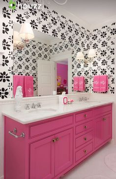 Girls Bathroom - Hot Pink Bathroom Cabinetry with Black  White Wallpaper.