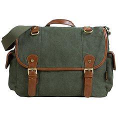 Estarer Damen Herren Umhängetasche Messenger Bag Schultasche aus Canvas Armee Grün