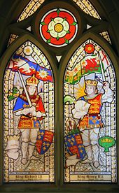 A stained glass window in St. James Church commemorates the Battle of Bosworth Field where Richard III's forces of 10,000 met with Henry Tudor's forces of 5,000. Due to the Stanleys, who did some fence sitting with their forces of 6,000, the battle swayed nicely in Henry's direction, making him Henry VII.