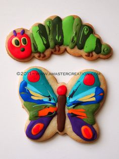 VHC (Very Hungry Caterpillar) cookies For Samantha's birthday. All royal icing. Cookies For Kids, Cute Cookies, Yummy Cookies, Cupcakes, Cupcake Cookies, Hungry Caterpillar Party, Caterpillar Book, Iced Cookies, Sugar Cookies