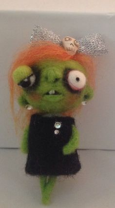 ZOMBIe brooch or pendant ooak art doll jewelry by papermoongallery, $49.00
