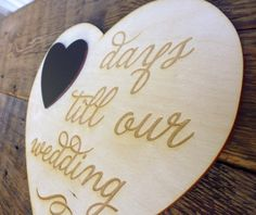 Wedding Countdown Chalkboard Sign Countdown Days till Our Wedding Engagement Sign Bride to Be Wooden Engraved Heart Engagement Gift on Etsy, $14.95