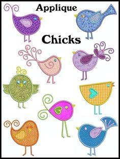 CHICKS Machine Embroidery Applique Design set of 9, 2 SIZES. $8.00, via Etsy.