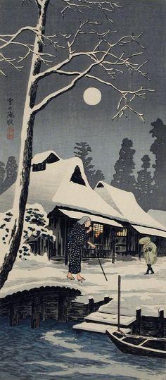 Takahashi Shōtei (Hiroaki), Winter Moon , Japan, before 1936 - Color woodblock print