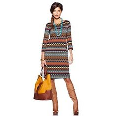 """Tiana B. """"Show-Off Color"""" Printed Boat-Neck Dress"""