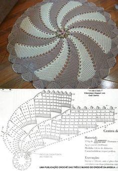 Вязание ковриков крючком схемы. Круглый коврик крючком. |