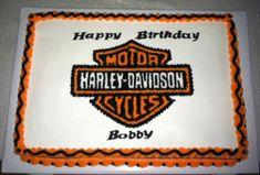 Harley Davidson Birthday Cake - 1/2 vanilla, 1/2 chocolate fudge, All Buttercream.