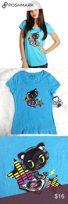Tokidoki Dance Machine Ice Blue Tee T-Shirt Brand new with tags, size Medium. Fits more like a junior's size Medium. This Tokidoki Dance Machine Ice Blue Tee T-Shirt is so cute! Must have for any tokidoki fan, music or kitty lover or DJ! tokidoki Tops Tees - Short Sleeve