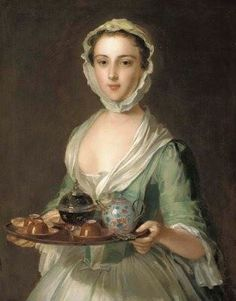 Philippe Mercier (French, - Portrait of a young woman, possibly Hannah, the artist's maid, holding a tea tray (oil on canvas) 18th Century Clothing, 18th Century Fashion, John Everett Millais, Tea Tray, Art Plastique, Illustration, Art Gallery, Renaissance, Fine Art