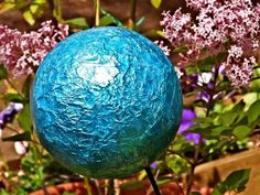 Gazing ball from tin foil and Mod Podge