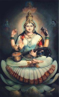 Saraswati goddess Thin Hair Cuts choppy cuts for thin hair Saraswati Goddess, Indian Goddess, Mother Goddess, Goddess Art, Goddess Lakshmi, Lord Saraswati, Saraswati Mata, Shiva Parvati Images, Shiva Hindu