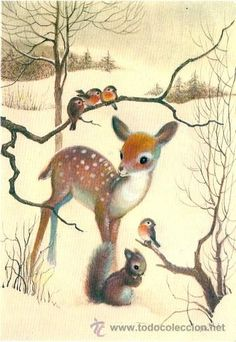 Beautiful ... fawn .. squirrel .. birds .. winter in the woods scene
