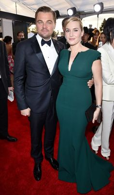 """Leo & Kate Winslet -  The old pals and Titanic co-stars were together again at the SAG Awards. Kate said on the E! pre-show that she has been """"so focused on Leo"""" winning this awards season — the Oscar could be next! — she hasn't been thinking about her own nominations. Aw! (Photo: Getty Images)"""