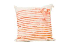 Coral orange striped cushion cover 50 x 50 by Touchee Feelee