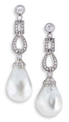 A PAIR OF ART DECO NATURAL PEARL, DIAMOND, PLATINUM AND GOLD EAR PENDANTS, CIRCA 1920. Each consisting of a round diamond ear post suspending articulated links set with rose-cut diamonds, terminating in a natural pearl drop, mounted in platinum and 18k white gold, length 4.2cm. #ArtDeco #earrings