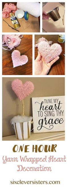 This 'One Hour Yarn Wrapped Heart Decoration' will add a bit of Valentine's Day decor to your home. See it on www.sixcleversisters.com It's an easy, diy, Valentine's Day craft. They could also be used as cute centerpieces for a shower or party.