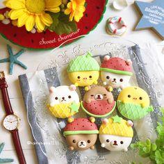 Rilakkumar & friends donuts by Donut World, Donut Drawing, Unicorn Milkshake, Chocolate Pinata, Kawaii Cookies, Frost Donuts, Crayon Crafts, Macaron Cookies, Kawaii Dessert