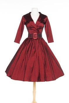 OYS Final Sale Birdie Dress in Dark Red with Three-Quarter Sleeves - Sale | Pinup Girl Clothing
