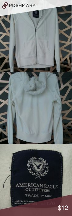 American Eagle hoodie Cream hoodie with lined hood.  Tag reads L fits like a Medium. American Eagle Outfitters Tops Sweatshirts & Hoodies
