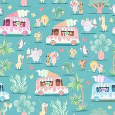 Jungle Ice Cream Truck by rebelform Jungle Animals, Pattern Illustration, Freelance Illustrator, Custom Fabric, Creative Business, Spoonflower, Pattern Design, Craft Projects, Fabrics