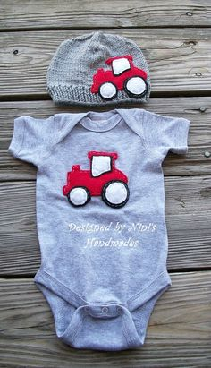RED TRACTOR  SetNewborn Set  Beanie is Grey and by NinisHandmades, $42.00