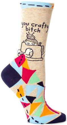 These socks are HILARIOUS! LOve them! Blue Q Crafty Bitch Socks (aff) #funnygifts #youcraftyb
