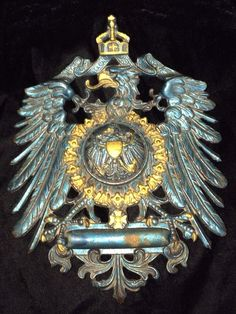 GERMAN EMPIRE COAT OF ARMS LG INK WELL CAST METAL GUN BLUE CROWNED EAGLE INKWELL