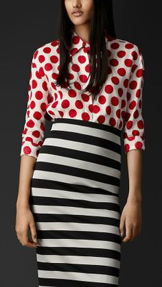 Polka Dot Blouse Shirt 2016 Summer Long Sleeve Blouse Loose Fit Blouses Shirt Red Women Tops Plus Size Clothing Camisa Feminina Fashion Prints, Fashion Design, Stripe Skirt, Mixing Prints, Mode Inspiration, Spring Summer Fashion, Spring Style, Spring 2014, Trendy Fashion