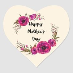 Pretty Floral Wreath Happy Mother's Day Classic Round Sticker   Zazzle.com Happy Mothers Day Friend, Mothers Day Presents, Mothers Day Cards, Happy Mothers Day Wallpaper, Mothers Day Classic, Round Stickers, Different Shapes, Floral Watercolor, Custom Stickers