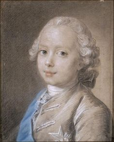 Chalk drawing of Louis Joseph Xavier de France (1751–1761), Duke of Burgundy, eldest son of Dauphin Louis and Marie Josèphe of Saxony, and brother of the future Louis XVI.  Poor little Louis Joseph would die of tuberculosis.  He was a pretty child, was he not?  ~Leah Marie Brown