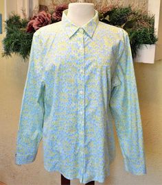 LL Bean XL Button Front Shirt White Multi Floral LS Wrinkle Resistant Classic #LLBean #ButtonDownShirt #Casual
