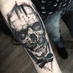 Blackwork Tattoo : Dark Trash And Blac Grey Tattoo Of Sugar Skull Tattoo With Blackwork Tattoo At Hand Tattoo Design Realism Tattoo with Blackwork Tattoo Style Tattoos Motive, Body Art Tattoos, Sleeve Tattoos, Tattos, Unique Forearm Tattoos, Forearm Tattoo Men, Skull Tattoo Design, Tattoo Designs Men, Black And Grey Tattoos