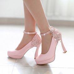 Lindos tacones color rosa de boda 4