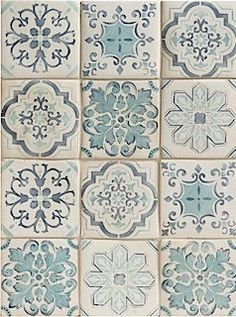 BATHROOM - Handpainted tiles - Duquesa Lisbon Pattern is a blend of five different Portuguese inspired patterns in traditional blue tones. Portuguese Tiles, Turkish Tiles, Moroccan Tiles, Stone Tiles, Cement Tiles, Kitchen Tiles, Tile Patterns, Tile Design, Wall Tiles
