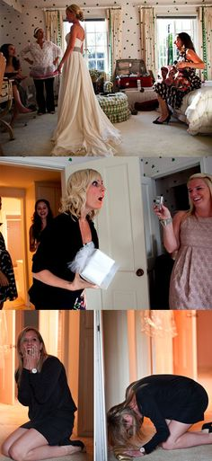 Check out the looks on these bridesmaids' faces when they show up to what they thought was an engagement party, only to see their best friend in a wedding dress! This surprise wedding is gorgeous - the bride was sick of wedding planning so decided to skip to the best part - the marriage.