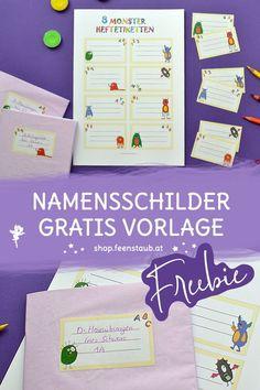 Eine unserer drei tollen gratis Druckvorlagen für die Einschulung, Grundschule und Volksschule: Namensschilder Freebies, Planer, Sticker, Unit Plan, Name Labels, School Kids, Stickers, Decal