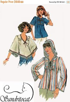 ON SALE 1970s Hooded Blouse Simplicity 7811 Vintage 70s Boho Sewing Pattern Size 12 Bust 34 UNCUT